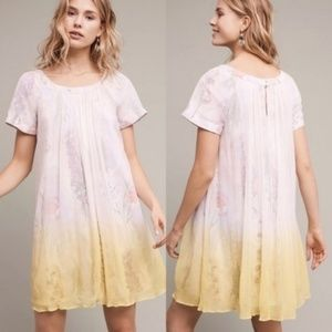 Anthropologie HD in Paris Ivory Ombre Floral Dress